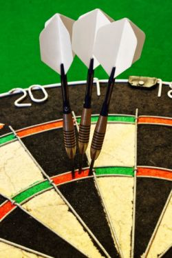 Darts in dartboard