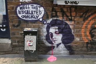 Graffiti_in_Shoreditch,_London_-_Well_that_escalated_quickly_-_Pure_Evil_(13744925183)